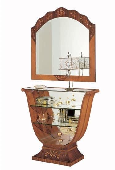 C606 Millennium consolle, Consolle intarsiata, classica di lusso, schienale a specchio