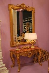 CONSOLLE ART. CL 0004, Consolle intagliata e decorata a mano, in stile Luigi XVI