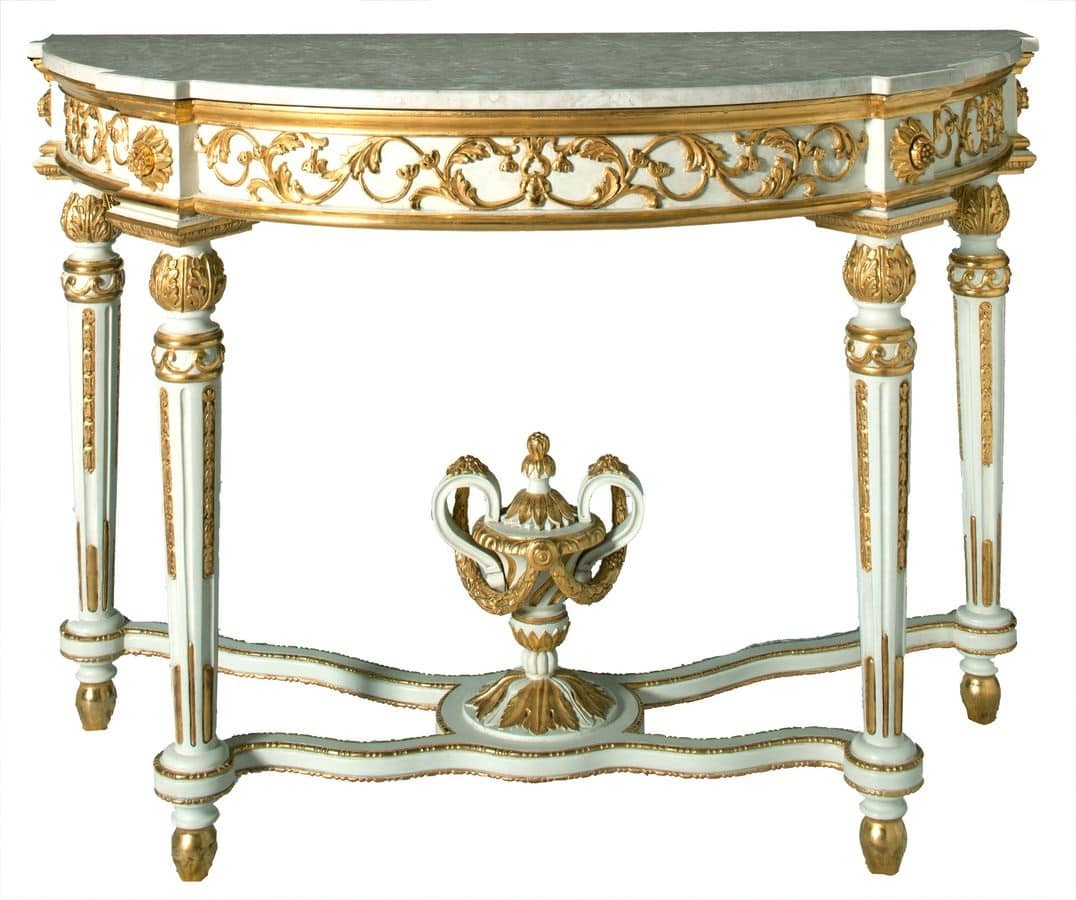 CONSOLLE ART.CL 0006, Consolle a mezzaluna classica di lusso per alberghi