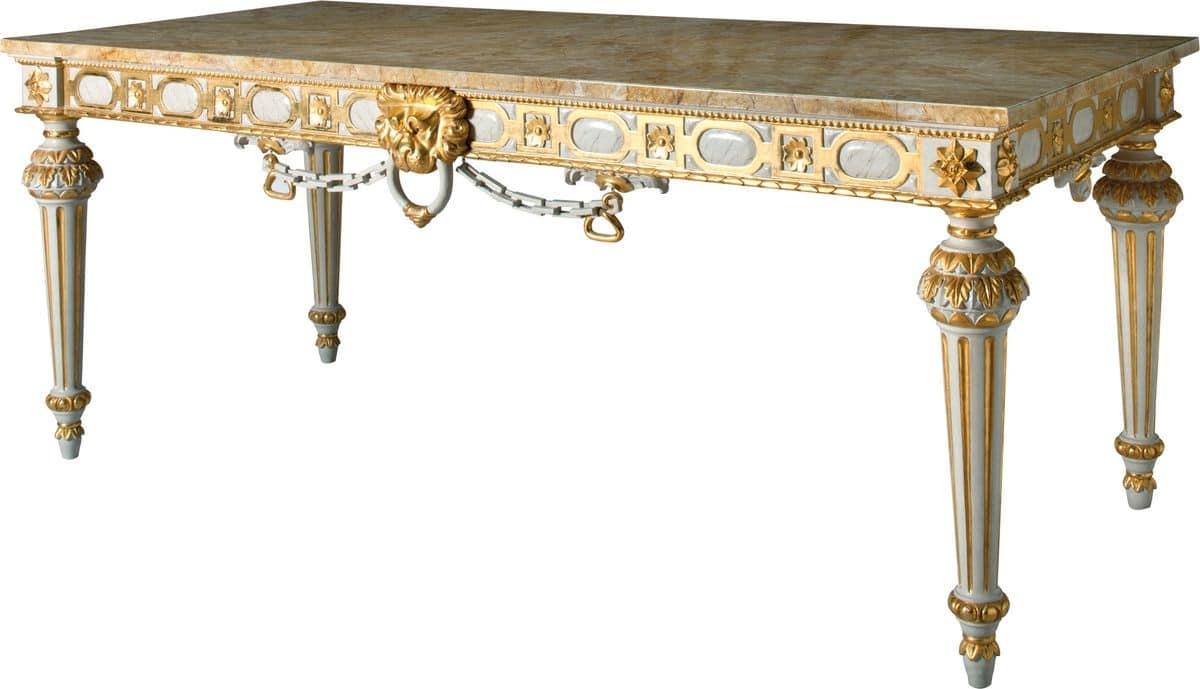 CONSOLLE ART. CL 0007, Consolle dorata stile Luigi XVI per alberghi, piano in marmo