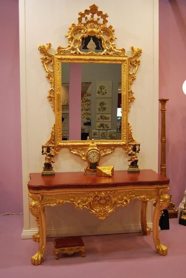 SET CONSOLLE + SPECCHIERA ART. CL0013+CR 0058, Consolle 4 gambe in legno intagliato con piano in marmo