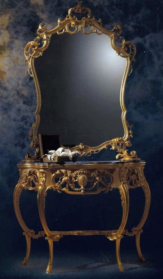 CONSOLLE ART. CL 0060 + CR0052, Consolle intagliata classica di lusso per uso residenziale