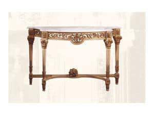 Console art. 217/b, Consolle in legno di tiglio con piano in marmo