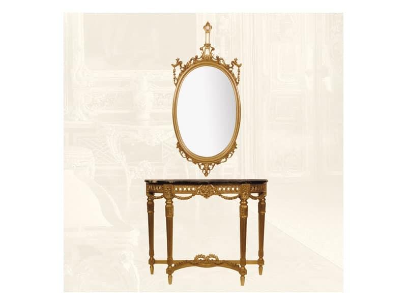 Console art. 238 Speciale, Consolle in legno con decorazione floreale, piano in marmo