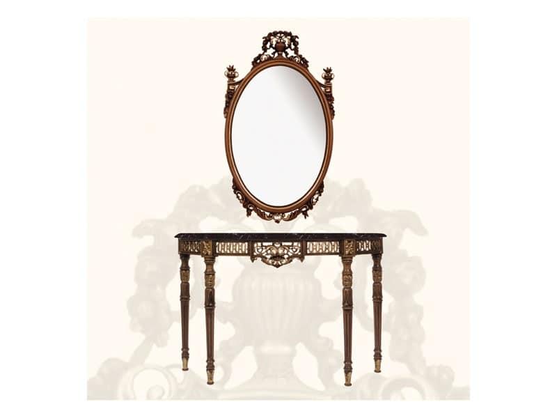 Console art. 239, Consolle in stile Luigi XVI, in legno e marmo nero