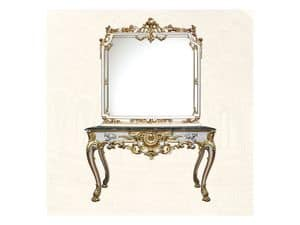Console art. 254, Tavolo di lusso con finiture bianche in foglia d'oro