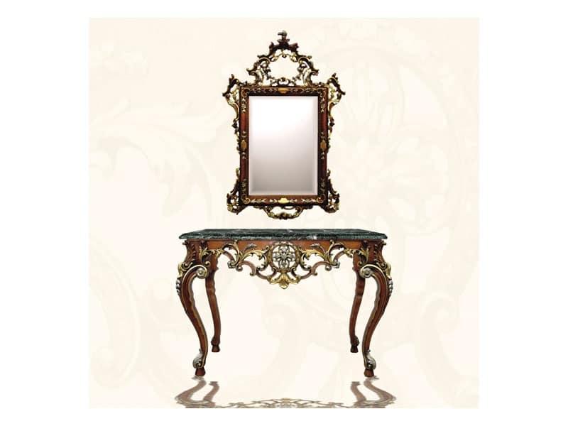 Console art. 255, Consolle di lusso, con finiture in oro e argento