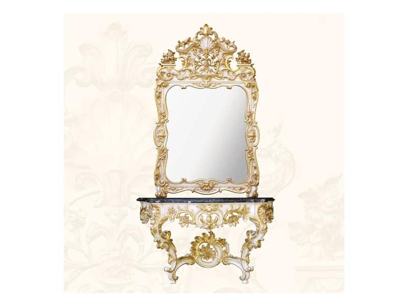 Console art. 257, Consolle in legno con piano in marmo nero, stile Rococò