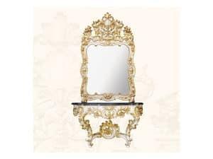 Console art. 257, Consolle in legno con piano in marmo nero, stile Rococ�