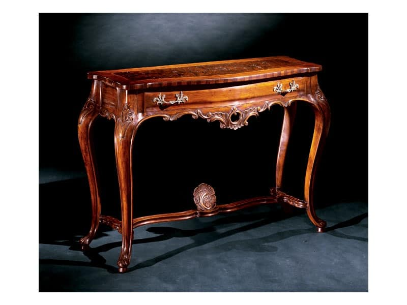 Console console 714, Console classica di lusso in legno intagliato