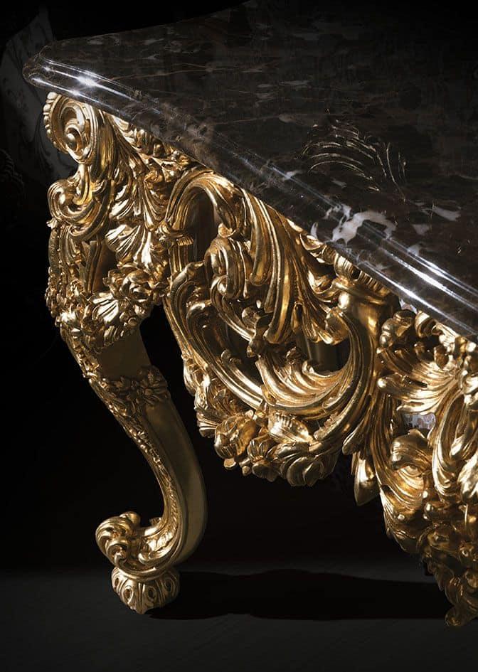 F105, Consolle con piano in marmo e specchio dorato
