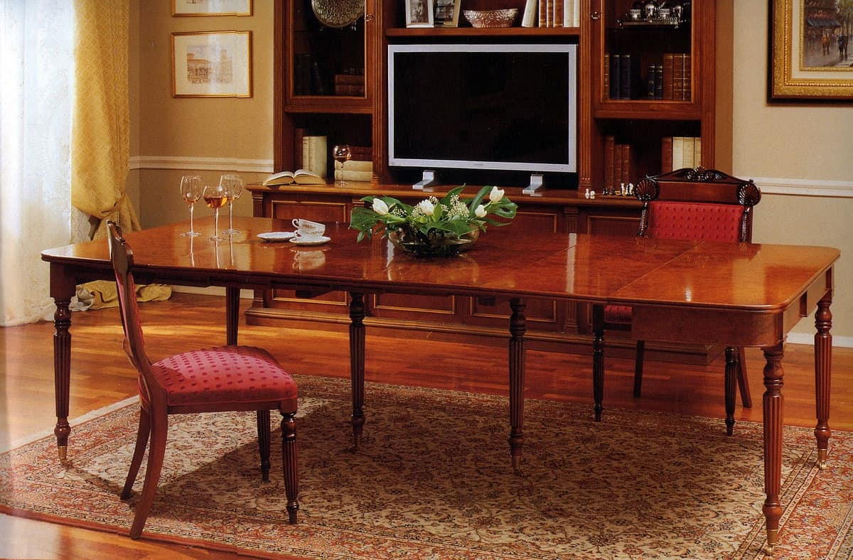 Moore, Consolle allungabile in legno, classica di lusso