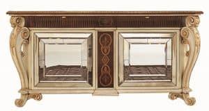 Allnatt LU.0001, Credenza con gambe intagliate, piano intarsiato, ante con specchi di Murano, in stile classico