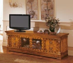 Art. 527/TV, Credenza classica in legno, Porta tv con intarsi