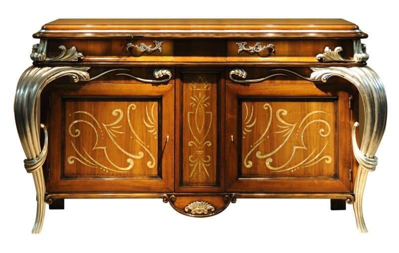 Empress LU.0031, Credenza in legno di noce, con 2 ante intarsiate in madreperla, carrello centrale scorrevole per bottiglie, piano intarsiato a spina di pesce, in stile classico di lusso
