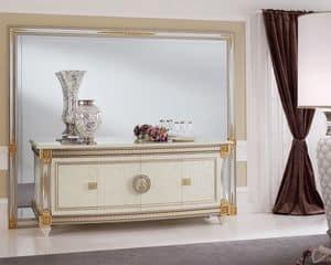 Liberty credenza, Credenza lussuosa in stile classico, in legno decorato artigianalmente, adatta per l'arredo di ingressi e sale da pranzo
