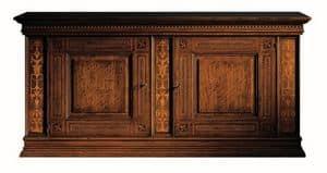 Medicea ME.0450, Credenza in noce, con 2 porte e 2 cassetti, intarsi in acero e palissandro, in stile del 1500 fiorentino
