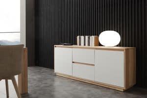 Art. 694MD Madia Factory, Madia con frontali laccato bianco, per soggiorno