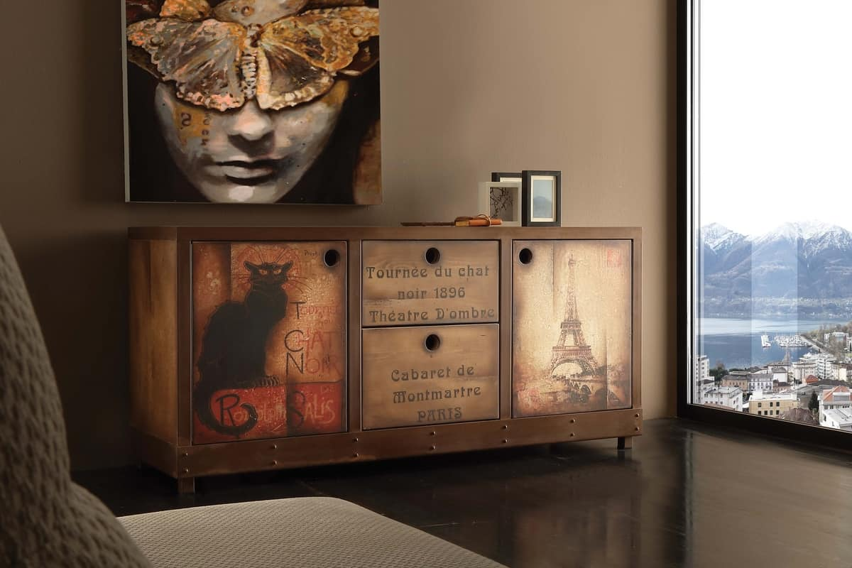 Art. 710CN Industrial Vintage Madia, Madia vintage, finitura effetto ruggine ed abete invecchiato