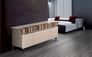 ATHENA 2.3 BC ACERO, Credenza design, 4 ante, ideale per ambienti residenziali moderni