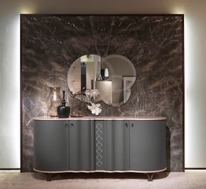 CR60B Mistral credenza, Madia dalle linee sinuose, rivestita in pelle