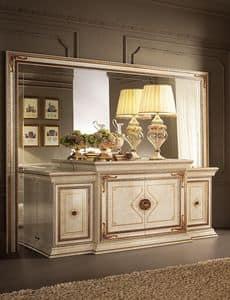 Leonardo buffet, Buffet classico, con finiture in foglia oro, 4 ante