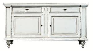 M�lanie BR.0007, Credenza con 2 porte e 2 cassetti, in stile Luigi XIV