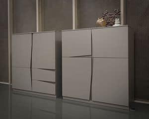VELA madia comp.01, Madia con ante e cassetti, maniglia originale