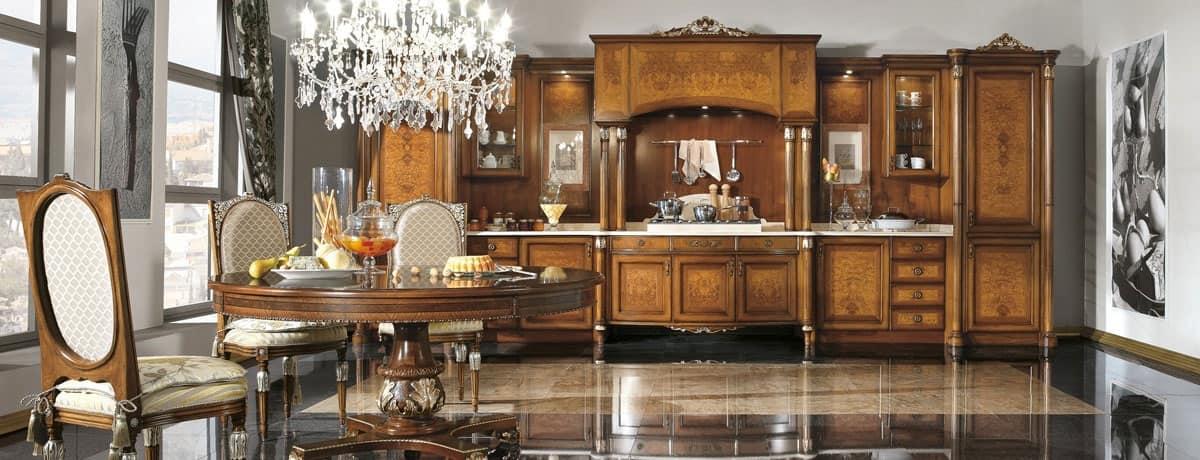 Cucina Classica Di Lusso In Noce E Radica Di Frassino Idfdesign