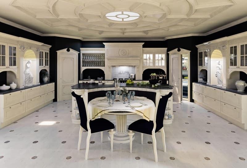Cucina In Legno Laccato Per Sala Da Pranzo Classica Idfdesign