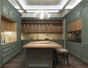 Amantea cucina, Cucina con isola con piano in legno noce