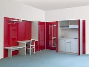 Collezione Cherry, arredo bilocali, monoblocco cucina a scomparsa, arredamento residence