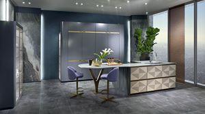 CUC03 Optical Skin cucina, Cucina lineare con piano in marmo