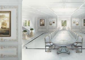 504 Boiserie, Boiserie laccata bianca, per sale da pranzo in stile classico