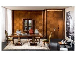 BOIS02 boiserie, Boiserie in legno, classico di lusso, per Soggiorni e uffici