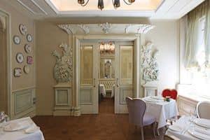 Boiserie Bianca, Boiserie laccata bianca, preziosi intagli creati artigianalmente, per hotel e ville prestigiose