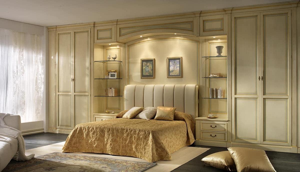 Libreria Design Camera Da Letto boiserie per camera da letto con ponte con luci | idfdesign