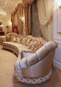 Aida corner sofa, Ampio divano ad angolo, in stile classico
