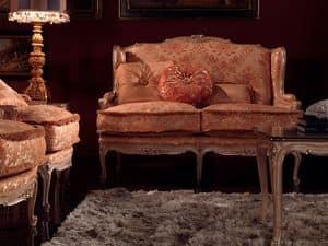 Anna divano, Divano imbottito, finitura laccata, decori foglia argento