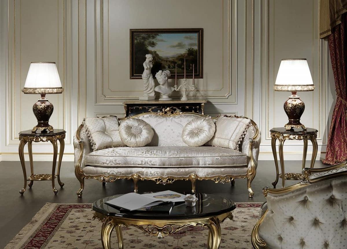 Art. VE/203 divano Venezia, Divano di lusso, stile Luigi XV, con preziosi intagli