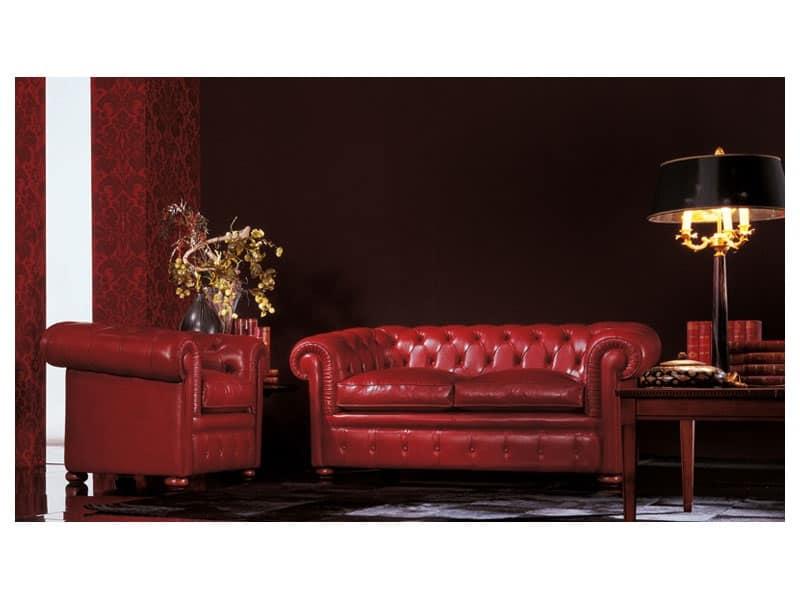 Chester, Divano classico di lusso adatto per salotto