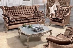 Corona, Divano classico di lusso per salotti, con 2 posti