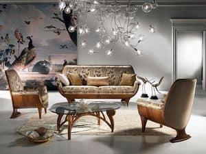 DI01 Confort divano, Divano in legno, imbottito, confortevole, classico di lusso