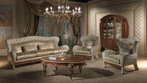 DI23 Vanity divano, Divano con 3 posti, in stile classico di lusso