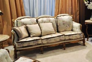 Liberty divano 3 posti, Divano classico intagliato a mano, in noce con oro