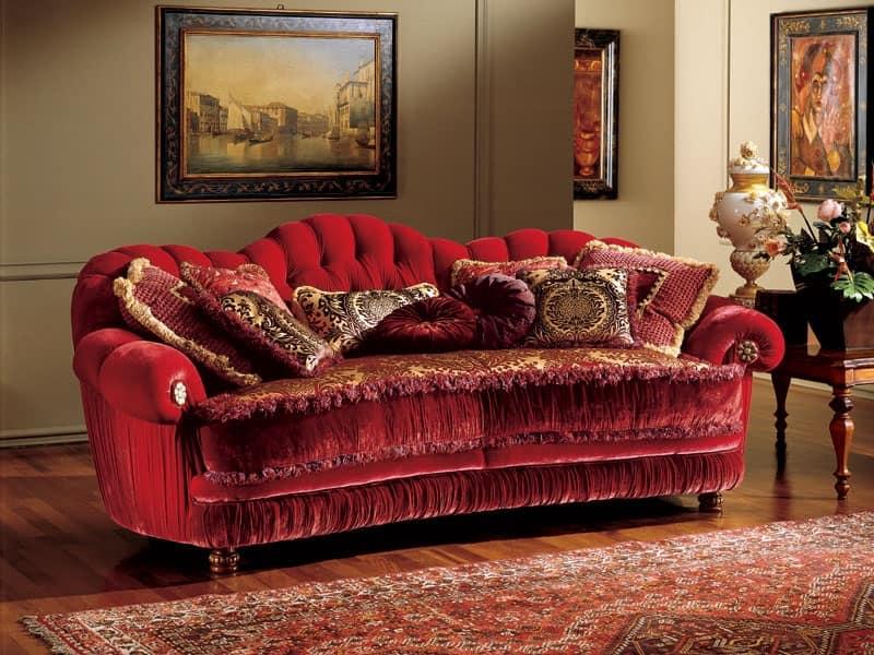 Marika divano, Divano in stile classico con imbottitura capitonnè