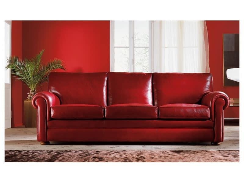 Oregon, Divano imbottito, ampi cuscini, stile classico