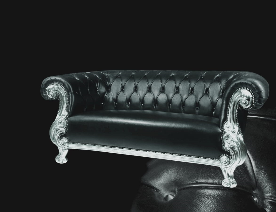Queen pelle, Divano intagliato, stile classico contemporaneo