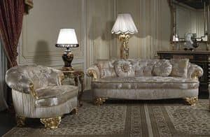 Art. PA/603 Divano, Divano classico di lusso, sedute con ampia profondit�