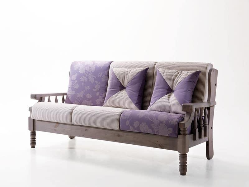 Giotto, divano in stile provenzale, divano rustico, divano in legno Taverna, Mansarda, Veranda ...